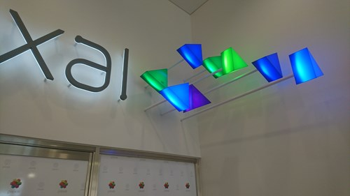 illuminated built up metal letters and acrylic prisms