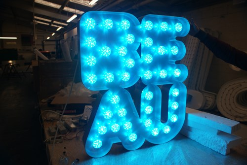 Built Up Metal Letters fitted with colour changing LEDs
