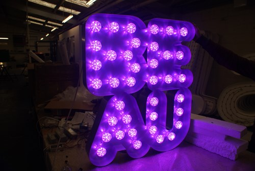 Built up letters with coloured cabochon LEDs